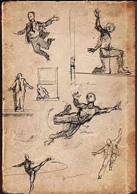Tightrope Drawing - Figure Studies by H James Hoff
