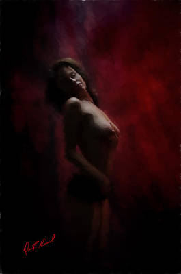 Single Figure Study Digital Art - Figure Study In Red by Dave Nicoll