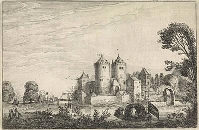 Figures In A Canoe In A Castle, Jan Van De Velde II Print by Jan Van De Velde (ii)