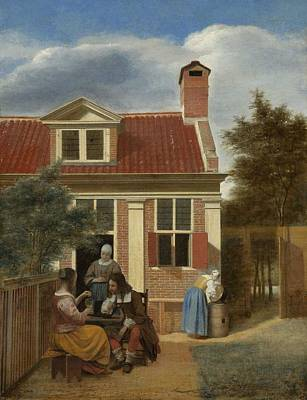 Netherlands Painting - Figures In A Courtyard Behind A House by Pieter de Hooch