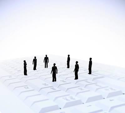 Figures On Computer Keyboard Print by Andrzej Wojcicki