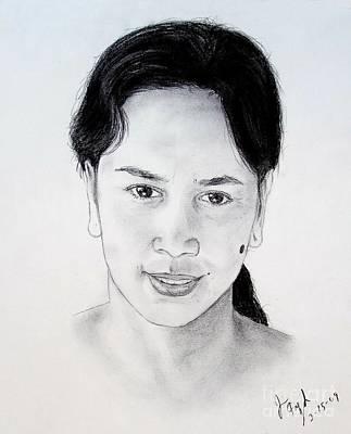 Filipino Drawing - Filipina Beauty With A Mole On Her Cheek by Jim Fitzpatrick