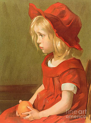 Red Hat Painting - Fillette A Lorange by Marie Louise Catherine Breslau