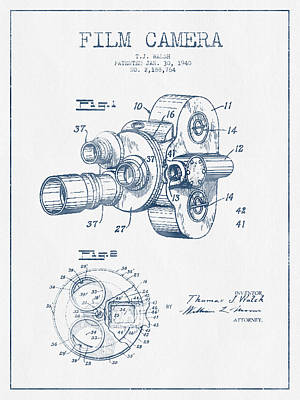Camera Digital Art - Film Camera Patent Drawing From 1938 - Blue Ink by Aged Pixel