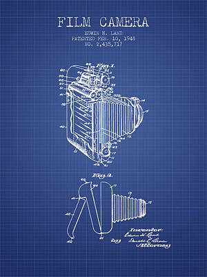 Film Camera Digital Art - Film Camera Patent From 1948 - Blueprint by Aged Pixel