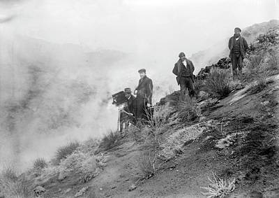 Filming Mount Etna Eruption Print by Library Of Congress