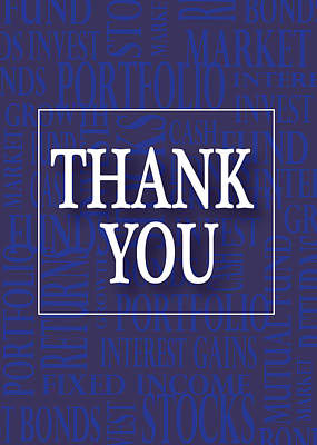 Financial Thank You Card Print by Financial Greeting Cards