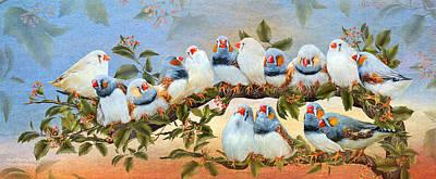 Finch Family Tree Print by Carol Cavalaris
