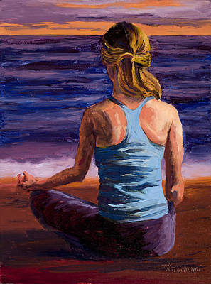 Yoga Painting - Finding Peace Sukhasana by Mary Giacomini