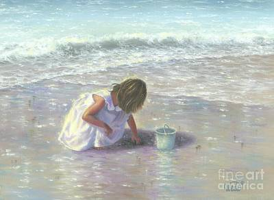 Shell Pastel Painting - Finding Sea Glass Brunette by Vickie Wade