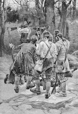 Finding The Body Of One Of Their Companions, Scalped And Horribly Mangled, Engraved By F.h Print by Howard Pyle
