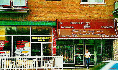 Montreal Chips Painting - Finesse Chocolate Shop Documenting Vintage Montreal Streetscene Storefront Paintings Carole Spandau  by Carole Spandau