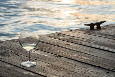 Finger Lakes Wine Tasting - Wine Glass On The Dock Print by Photographic Arts And Design Studio