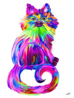 Pets Art Digital Art - Finger Painted Cat Too by Nick Gustafson
