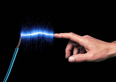Bright Colours Photograph - Finger Touching Blue Sparks by Victor De Schwanberg