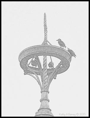 Finial For Starlings Print by Kathy Barney
