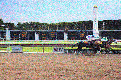 Racetrack Digital Art - Finish Line by Ryan Cosgrove