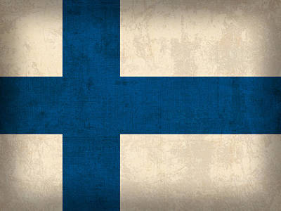 Flag Mixed Media - Finland Flag Vintage Distressed Finish by Design Turnpike