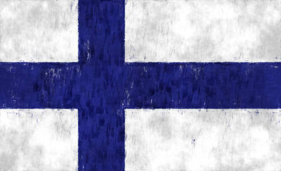 Finland Flag Print by World Art Prints And Designs