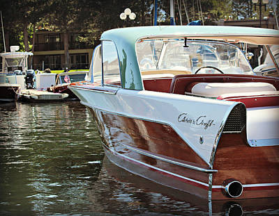 Wooden Boat Photograph - Finned Chris Craft by Steve Natale