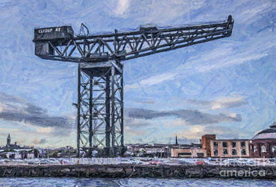 Scotland Digital Art - Finnieston Crane Glasgow by Liz Leyden