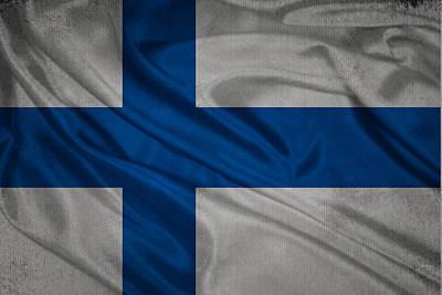 Waving Flag Mixed Media - Finnish Flag Waving On Canvas by Eti Reid
