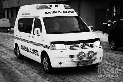 Finnmark Health Service Ambulance Honningsvag Norway Europe Print by Joe Fox