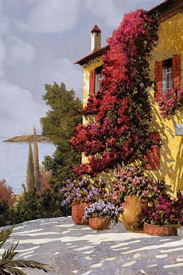 Carnation Painting - Fiori Rosssi E Muri Gialli by Guido Borelli
