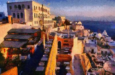 Traditional Painting - Fira City During Sunset by George Atsametakis