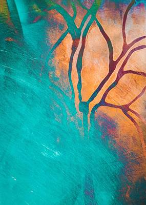 Fire And Ice Abstract Tree Art Teal Print by Priya Ghose