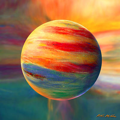 Abstracted Digital Art - Fire And Ice Ball  by Robin Moline