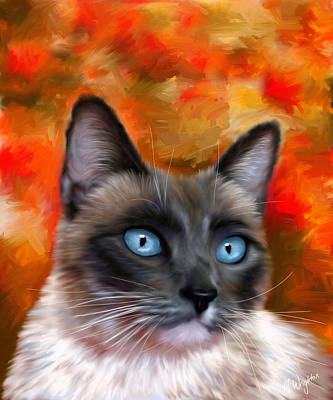 Pet Portraits Digital Art - Fire And Ice - Siamese Cat Painting by Michelle Wrighton