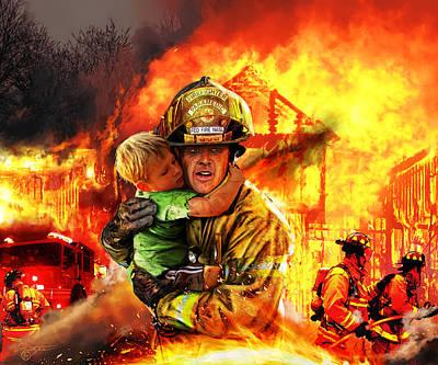 Fire Brigade Print by Kurt Miller