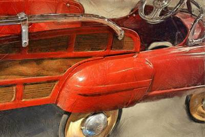 Childs Bedroom Art Digital Art - Fire Engine Pedal Car by Michelle Calkins