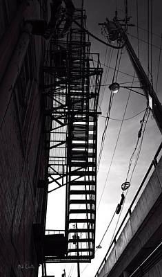 Fire Photograph - Fire Escape And Wires by Bob Orsillo