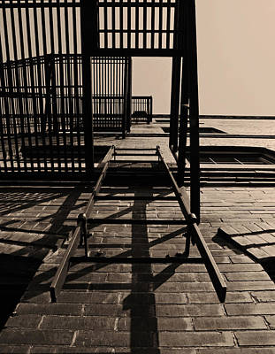 Fire Escape Sepia Print by Don Spenner