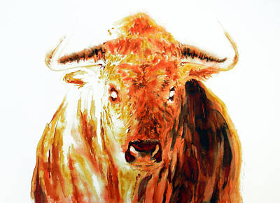 Bull Drawing - Element Fire Fight Bull by Jose Espinoza
