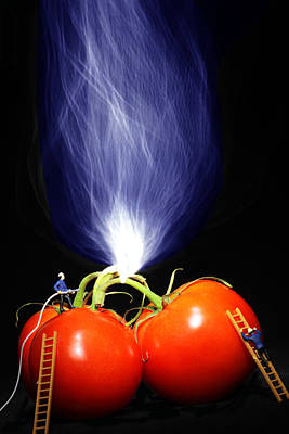 Fire Fighting On Tomatoes Little People On Food Print by Paul Ge