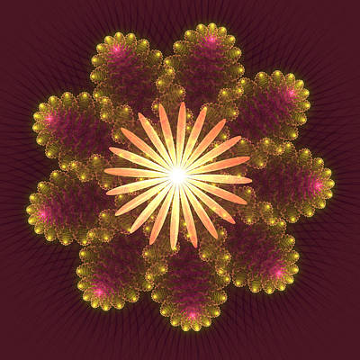 Fire Flower Mandala Print by Svetlana Nikolova