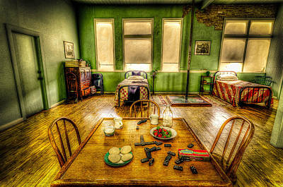 Vintage Photograph - Fire House Bunk Room by David Morefield