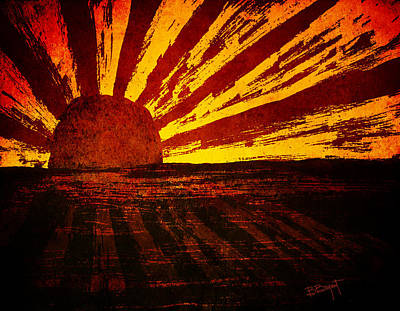 Sunset Abstract Painting - Fire In The Sky by Brenda Bryant