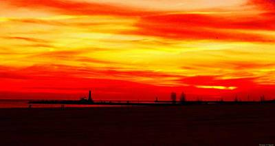 Lake Michigan Drawing - Fire In The Sky by Rosemarie E Seppala
