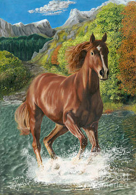 Horse Drawing - Fire In The Valley by Bretislav Stejskal