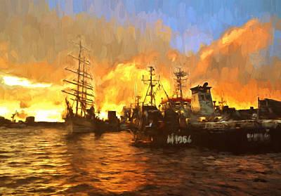Navigation Mixed Media - Fire On The Harbor by Georgiana Romanovna