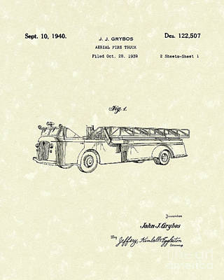 Truck Drawing - Fire Truck 1940 Patent Art by Prior Art Design