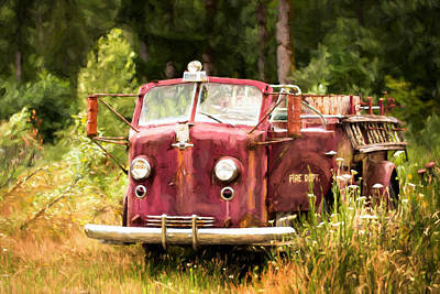 Manipulation Photograph - Fire Truck Digital Painted by Mary Jo Allen