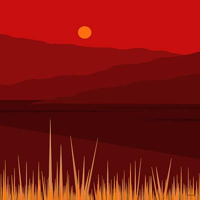 Minimalist Landscape Digital Art - Fire by Val Arie