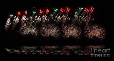 Fire Works Digital Art - Fire Works Across The Sky Reflection Version by Jim Fitzpatrick