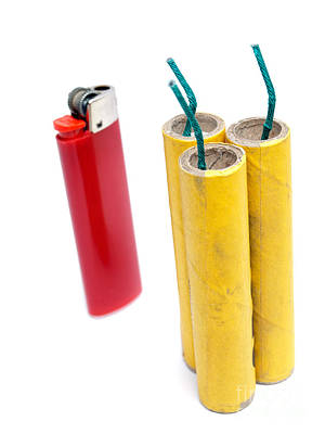 Firecrackers And Lighter Print by Sinisa Botas