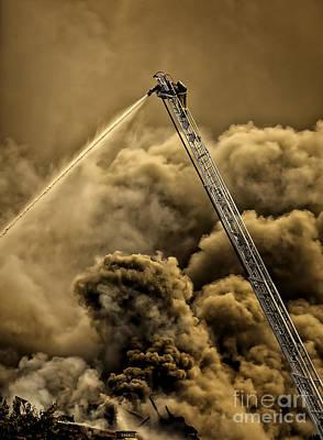 Ladder Photograph - Firefighter-heat Of The Battle by David Millenheft